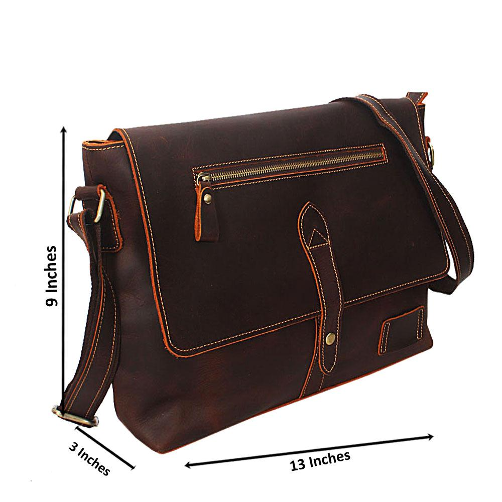 Tan Brown Cowhide Leather Messenger Bag