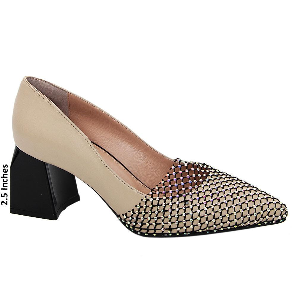Cream Avery Crystal Tuscany Leather Mid Heel Pumps