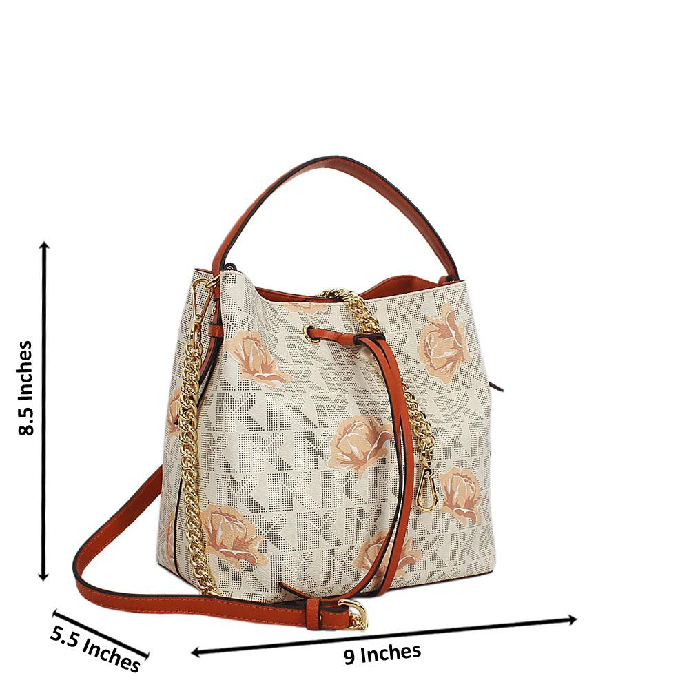 Cream Brown Flora Print Leather Small Top Handle Handbag