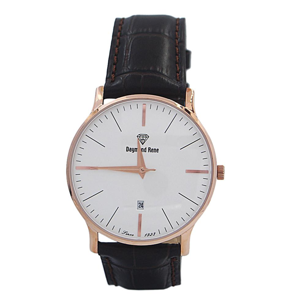 DR 3ATM Coffee Rose Gold Leather Flat Watch
