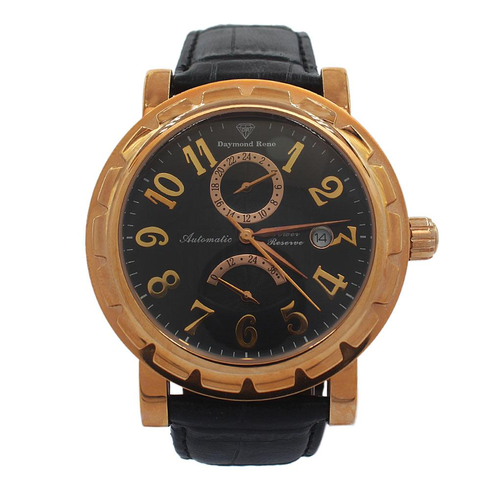 Rose Gold Black Leather Luxury Automatic Watch