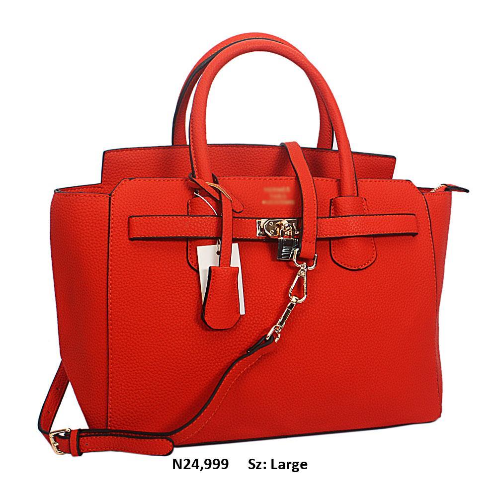 Orange Yolanda Leather Tote Handbag