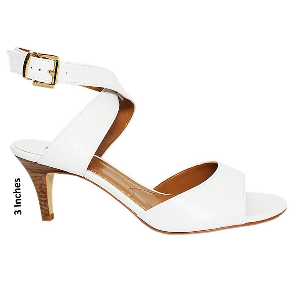 White Twister Smooth Leather Heel