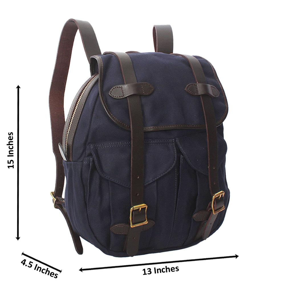 Navy Water Proof Khaki Leather Mix Backpack