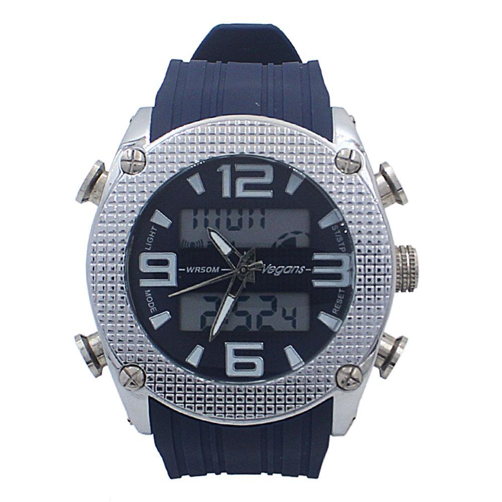 Blue Rubber 5 ATM Water Resistant Analog Digital Watch