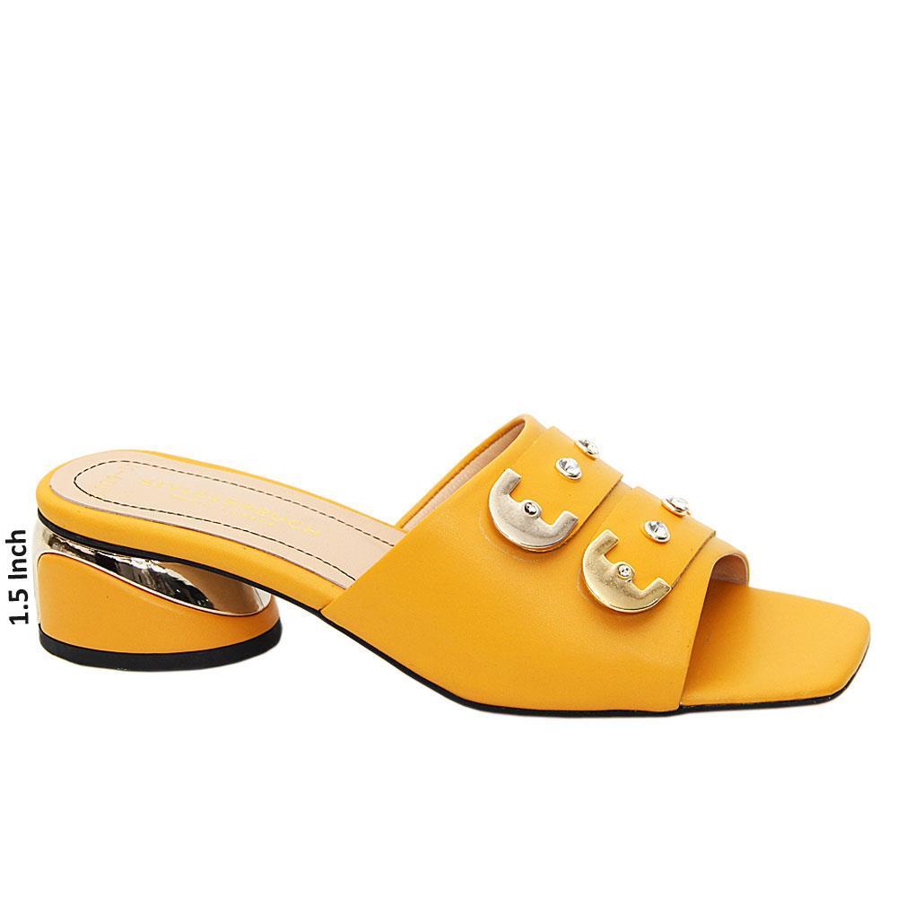 Yellow Matilda Tuscany Leather Low Heel Mule