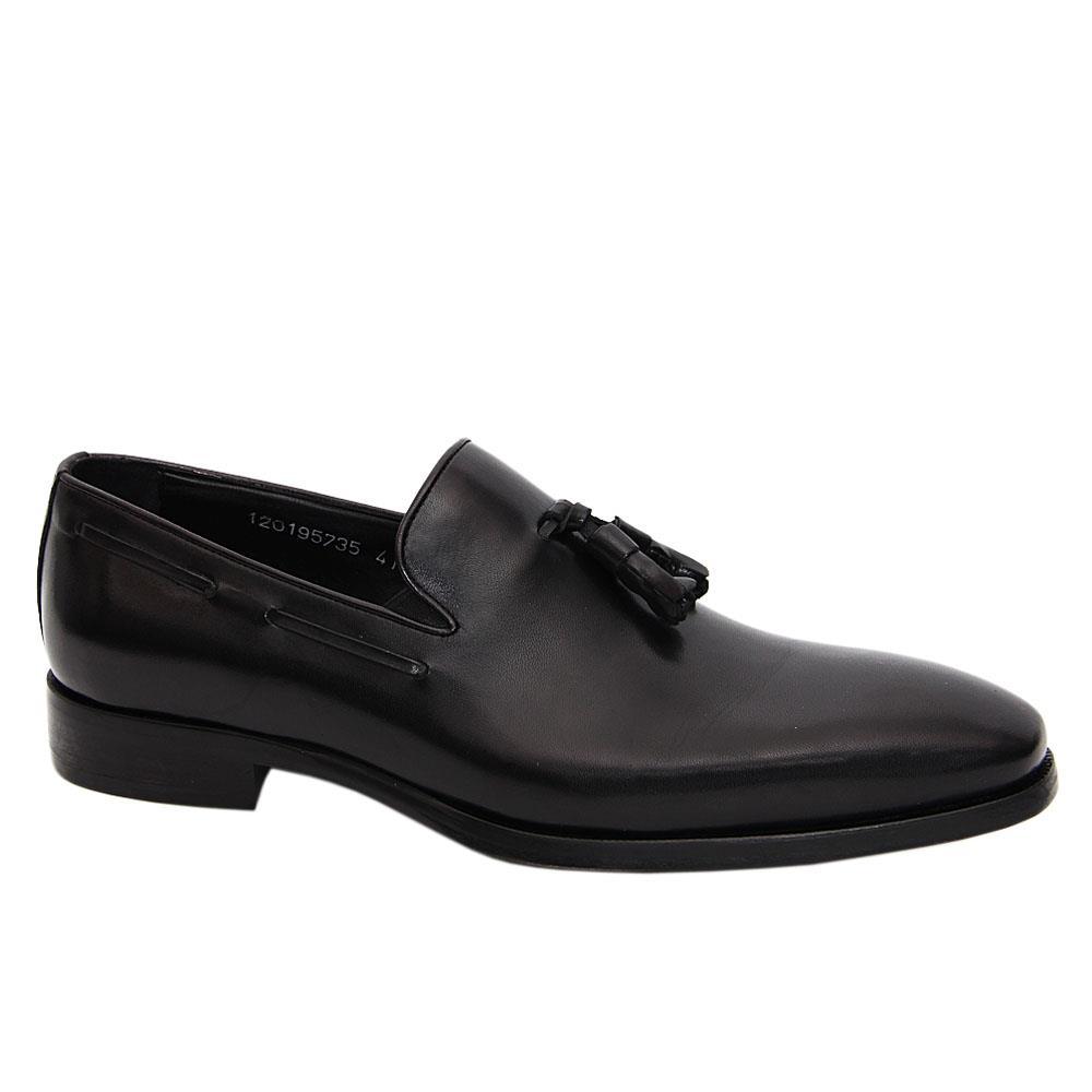 Black Orlando Italian Leather Men Tassel Loafers