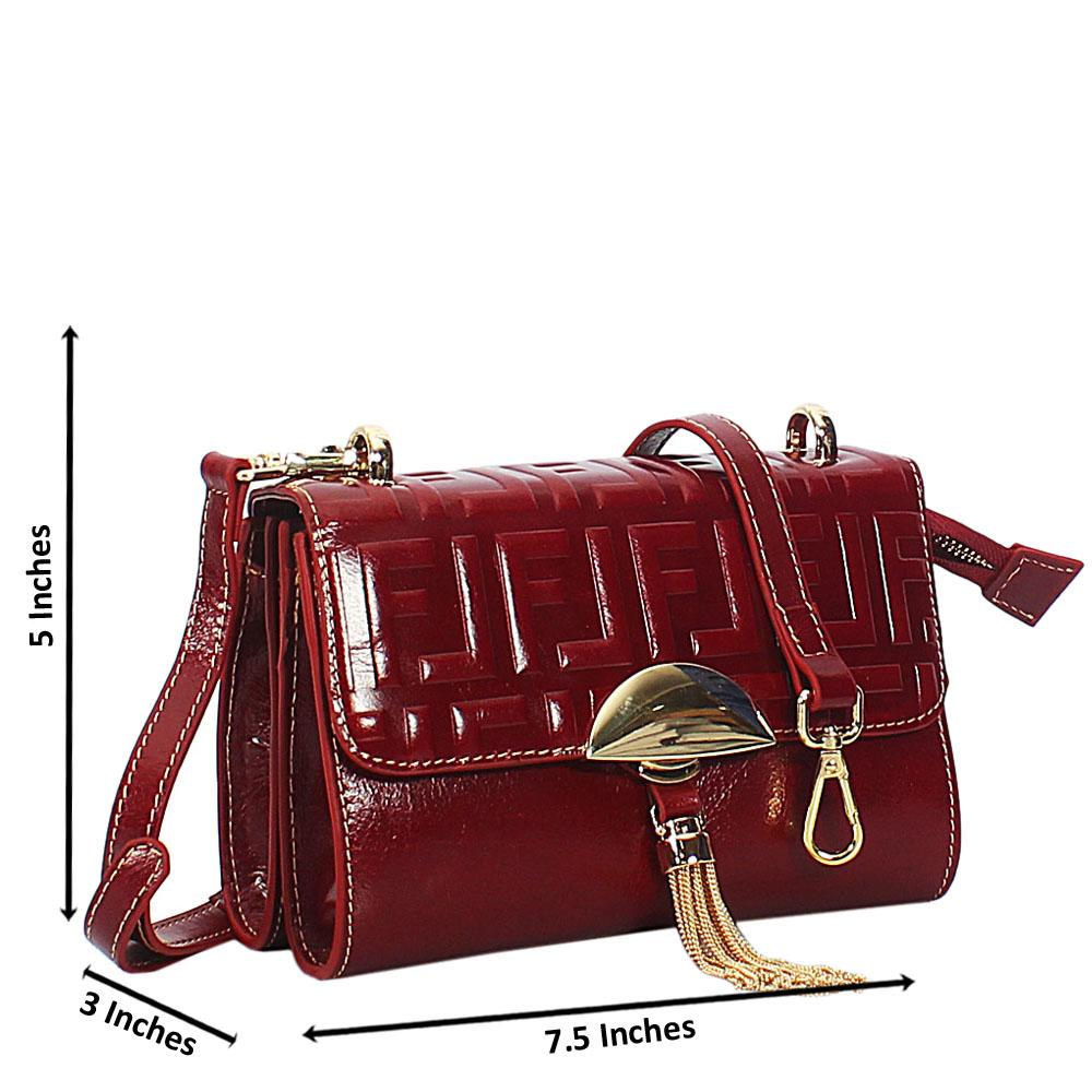 Zelda OxBlood Embossed Shining Montana Leather Crossbody Handbag