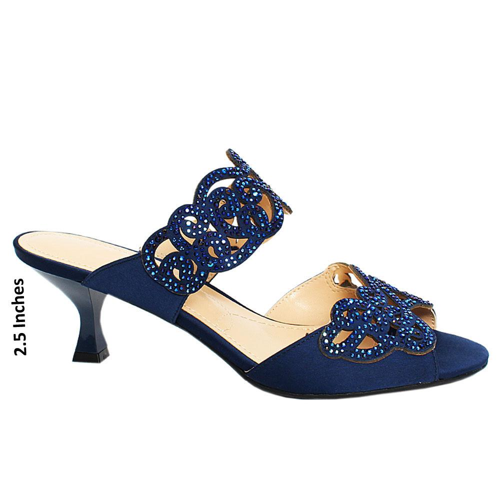 Navy Sandown Satin Leather Mule
