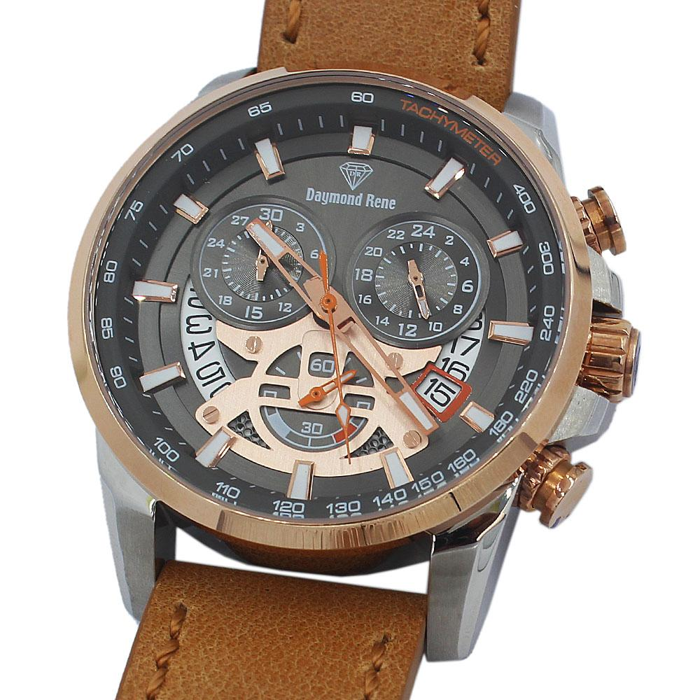 DR 10ATM 2-Tone Khaki Leather Chronograph Watch