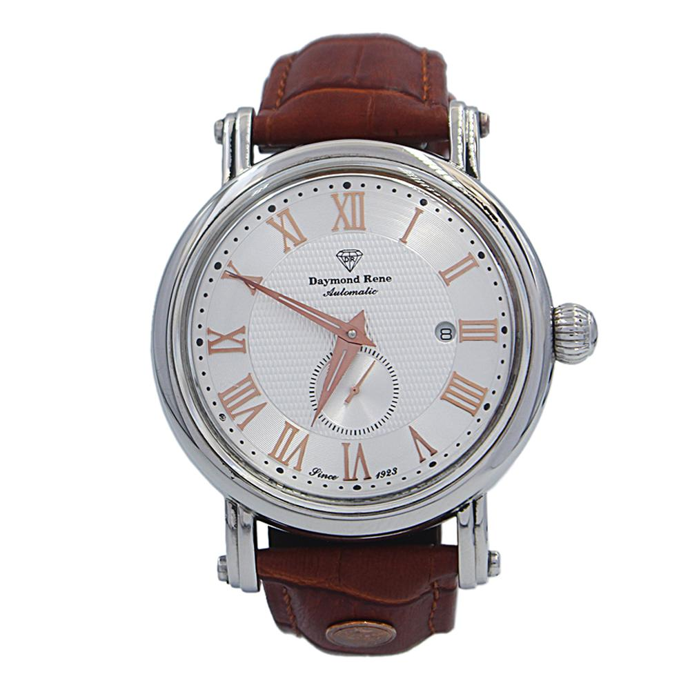 DR 3ATM Cinnamon Brown Silver Leather Automatic Watch