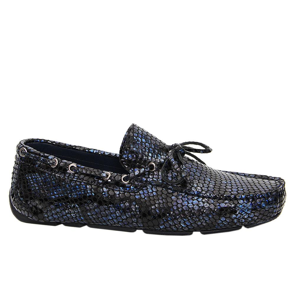 Navy Mix Magnus Embossed Patent Italian Leather Drivers