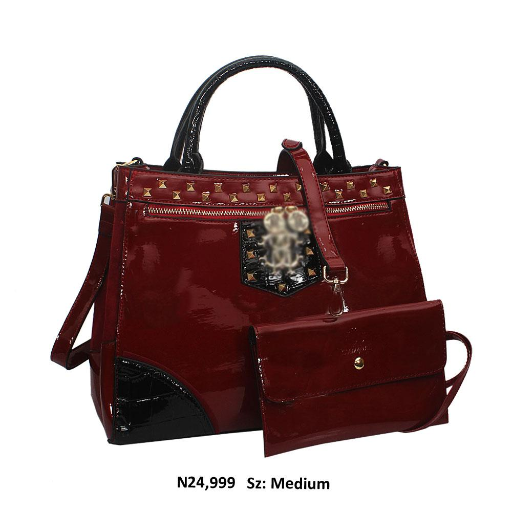 Wine Opal Studded Patent Suede Leather Tote Handbag