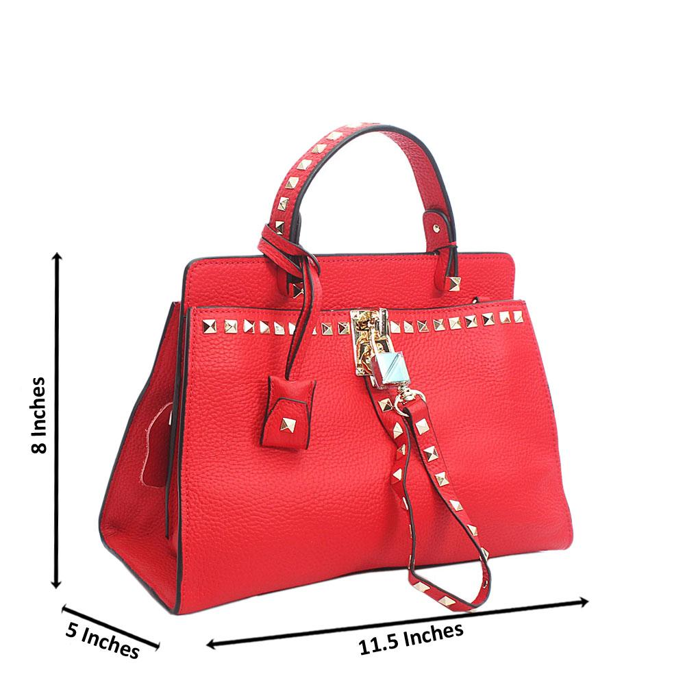 Cute Red Rock Stud Tuscany Leather Top Handle Handbag