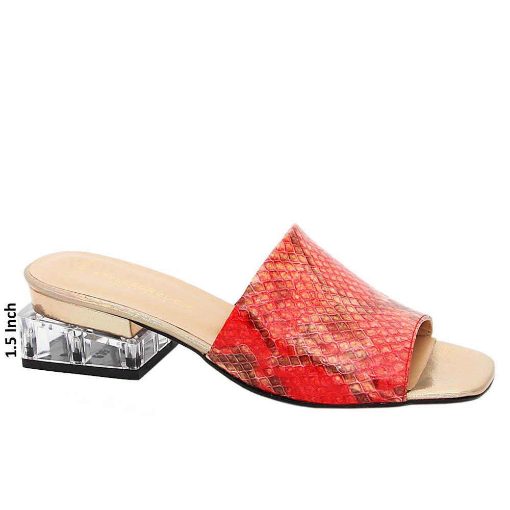 Red Mix Elenora Tuscany Leather Mid Heel Mule