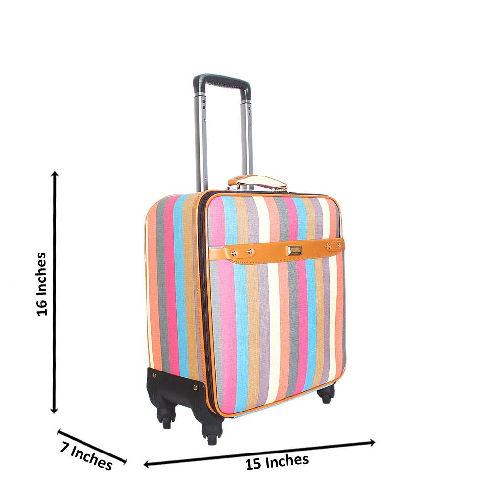 Multicolor 16 Inch Leather Pilot Suitcase Wt Lock