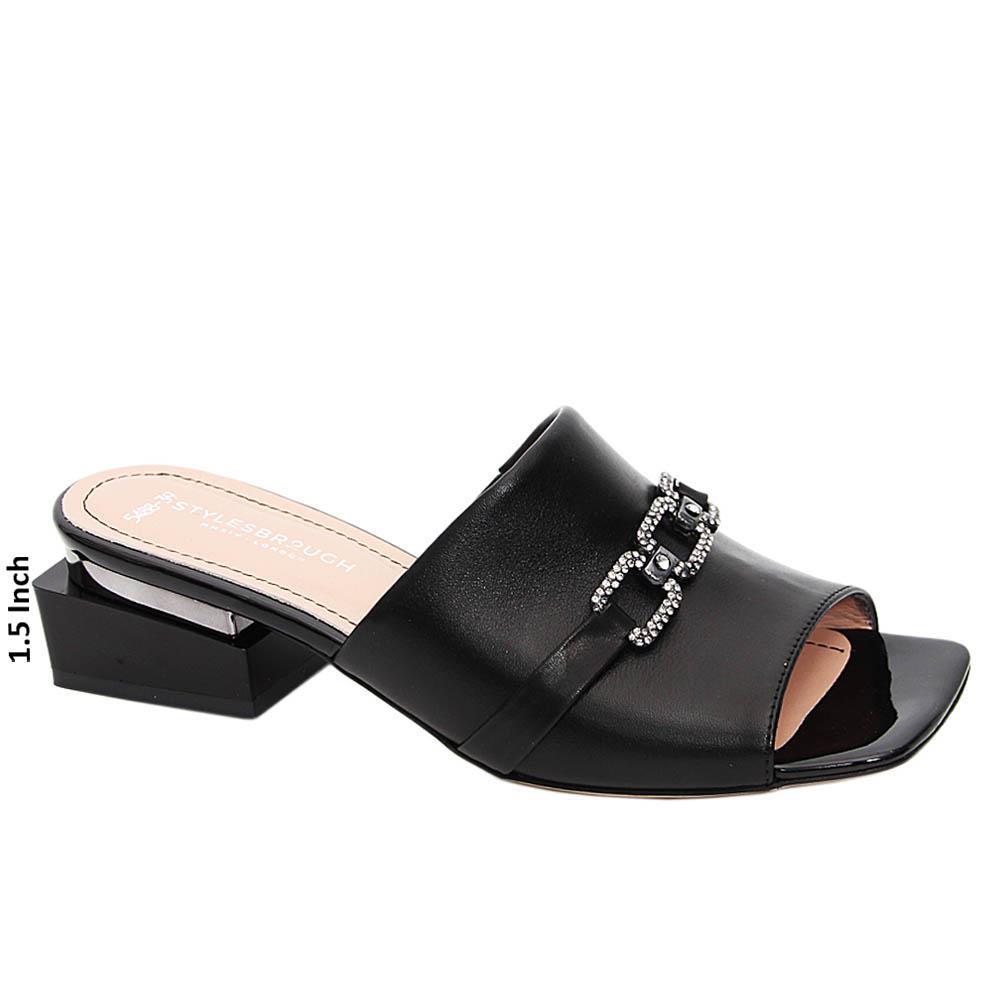 Black Azalea Tuscany Leather Mid Heel Mule