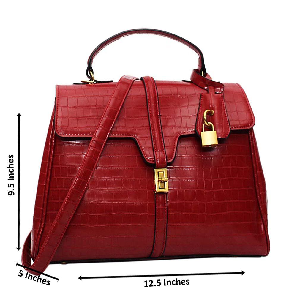 Wine Azalea Croc Leather Medium Top Handle Handbag