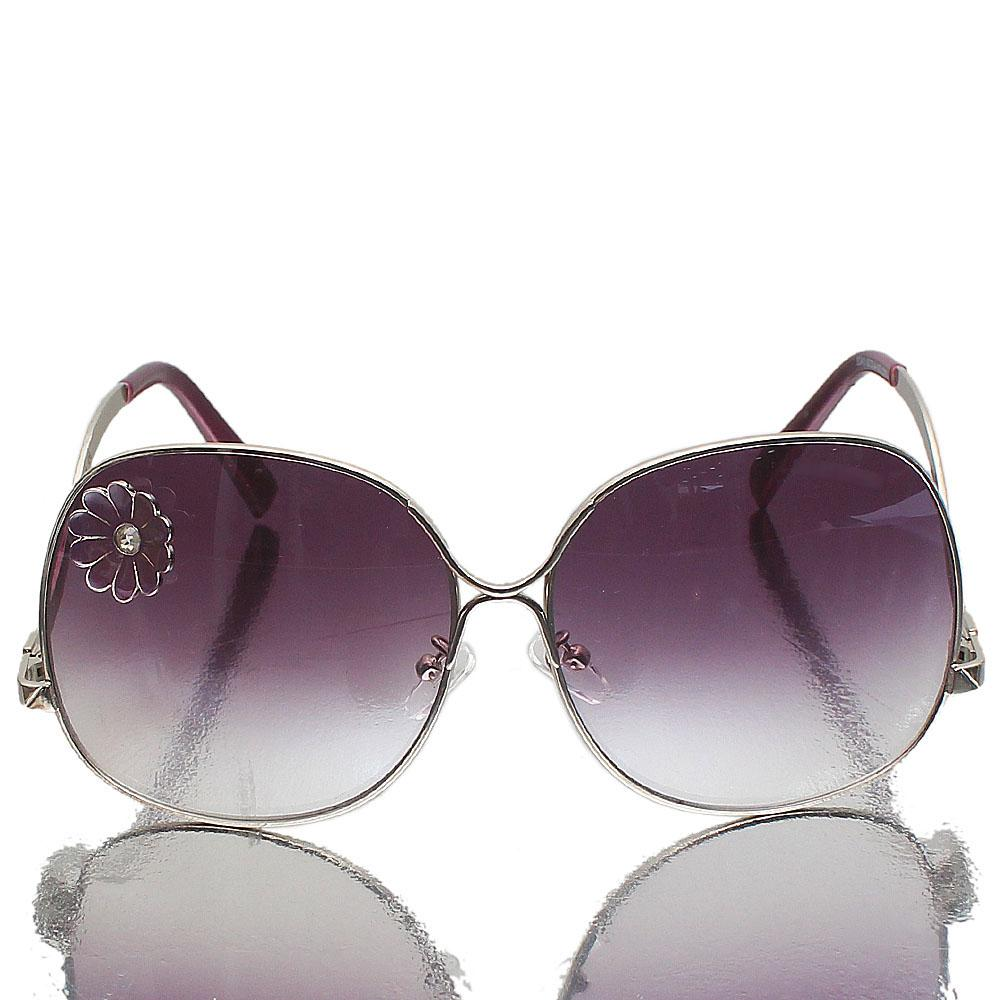 Silver Purple Oblong Purple Lens Sunglasses