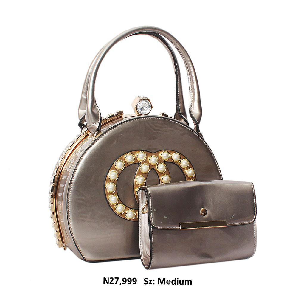 Grey Queenie Gold Studded Patent Leather Tote Bag