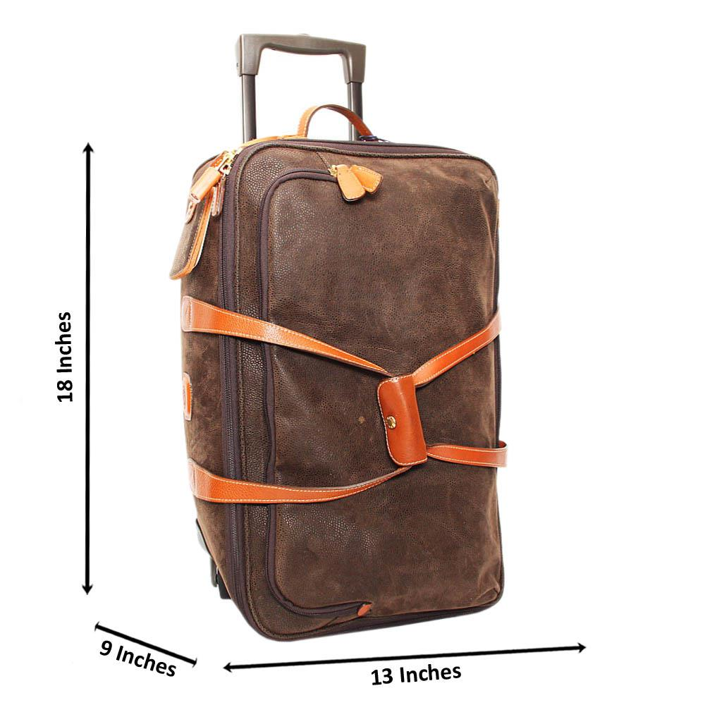 Desert Green Brown Leather 18 Inch 2 Ways Carry-On Luggage