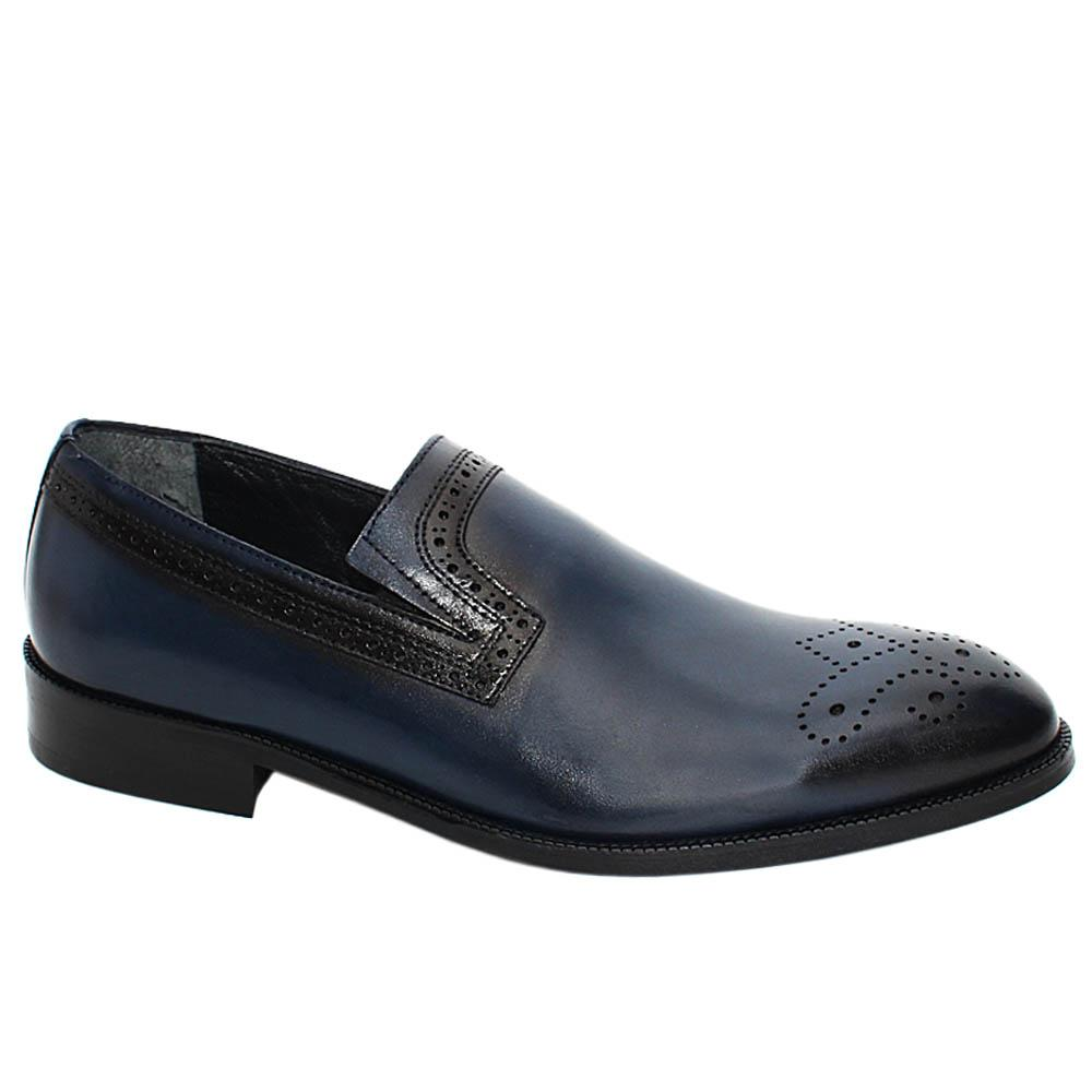 Navy Wesley Leather Men Penny Loafers
