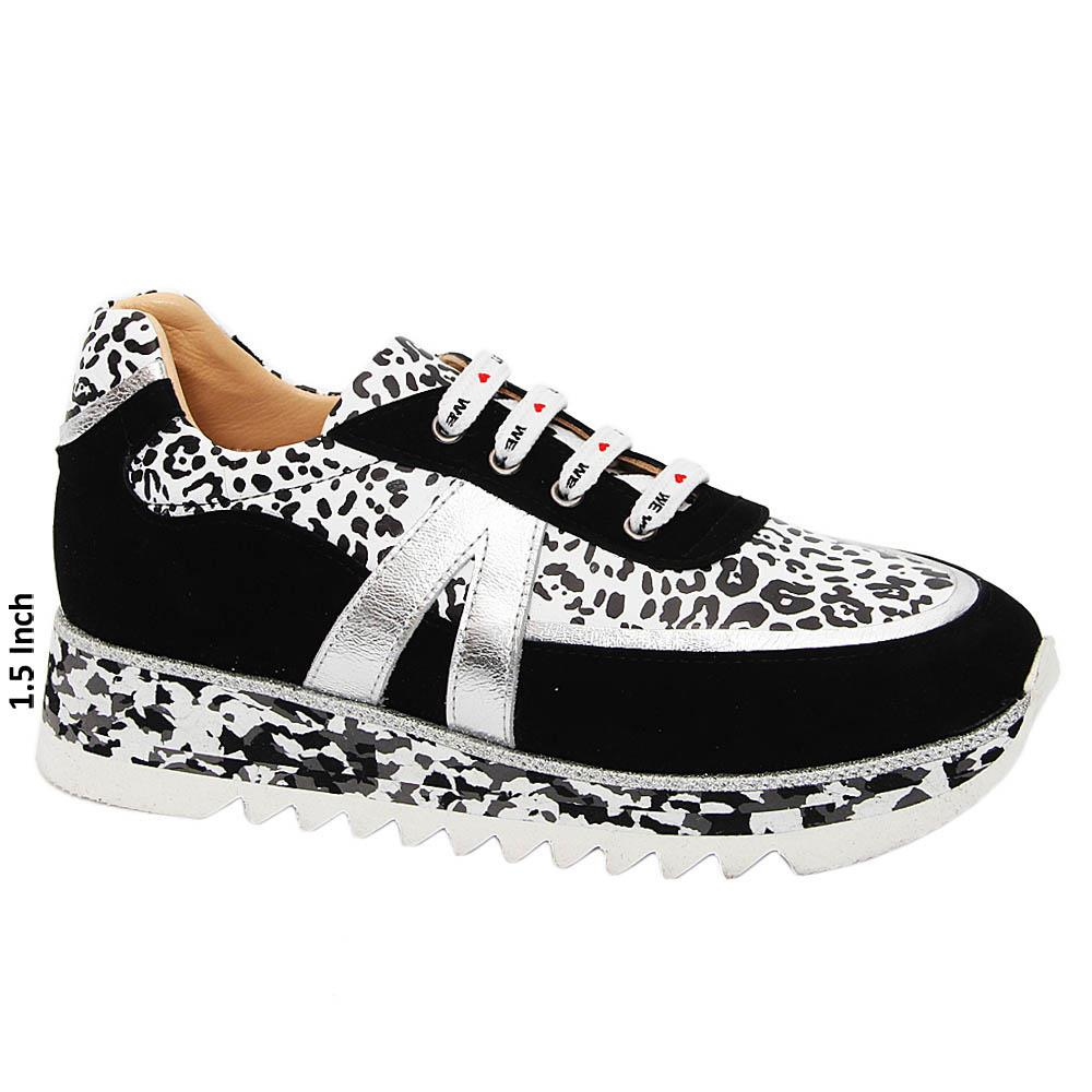 Black White Mix Diana Ross Tuscany Leather Ladies Sneakers