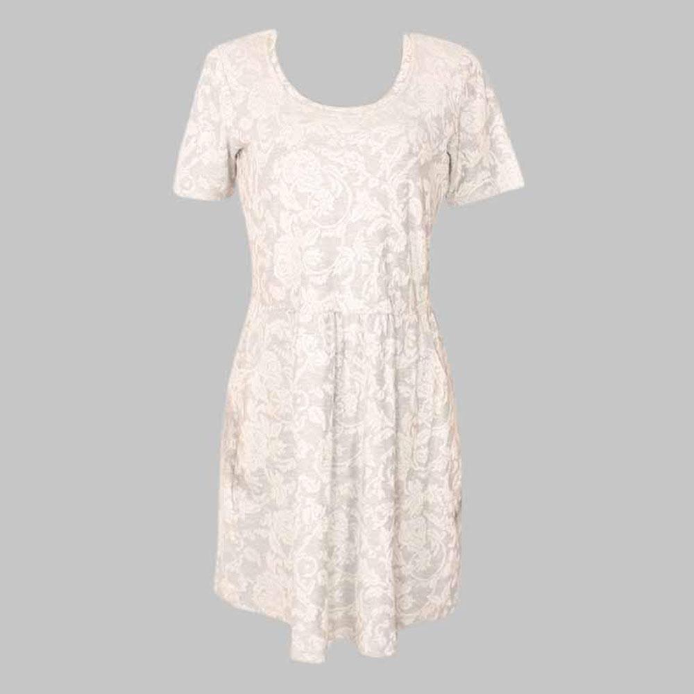 Gray S-Sleeve Dress-Uk 14