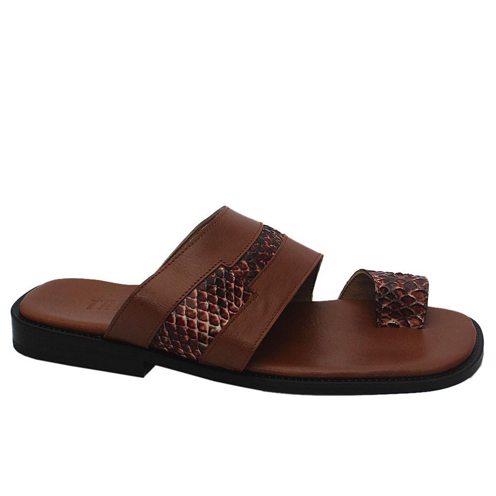Caramel Brown Snake Skin Leather Men Slippers