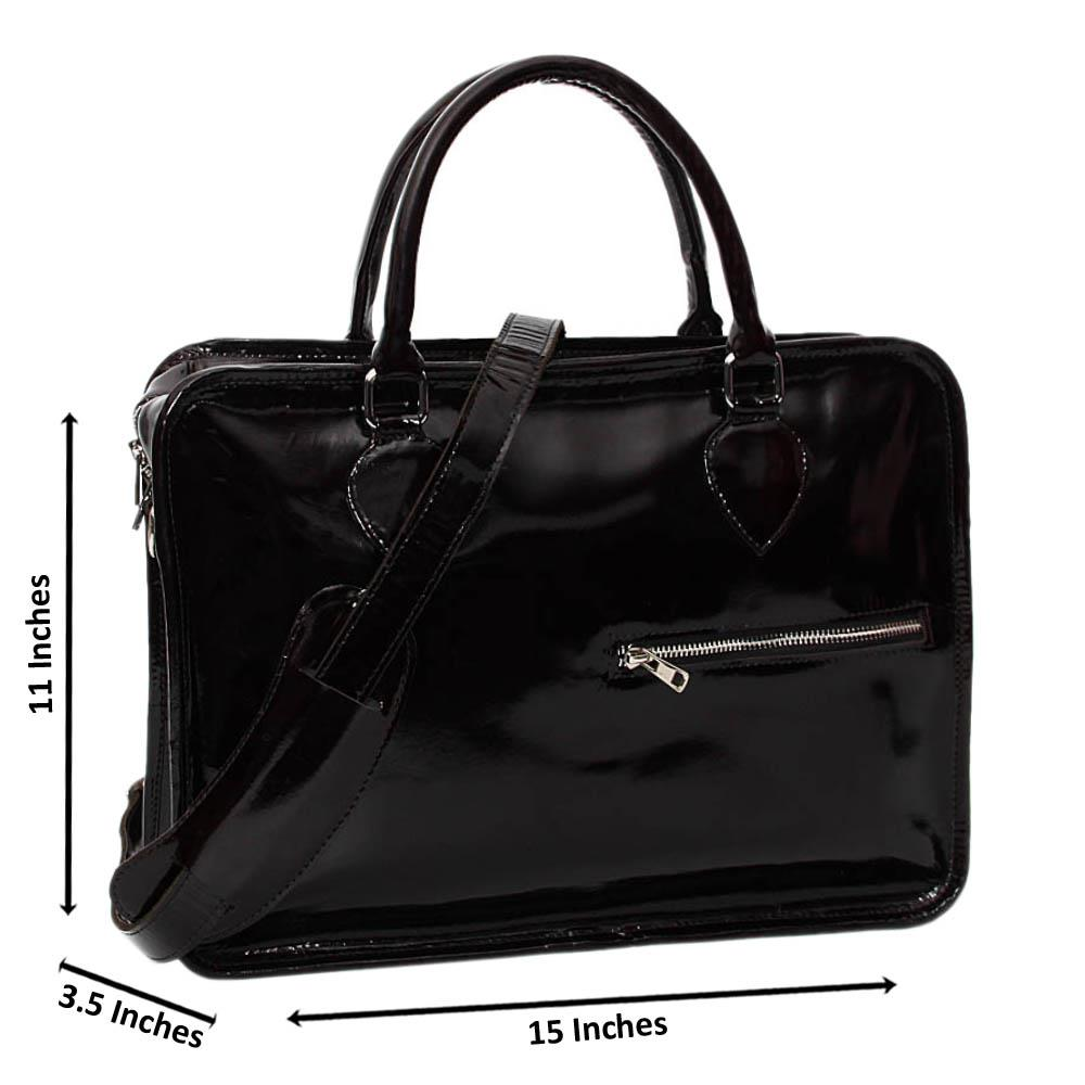 Black Casiana Patent Cowhide Leather Briefcase