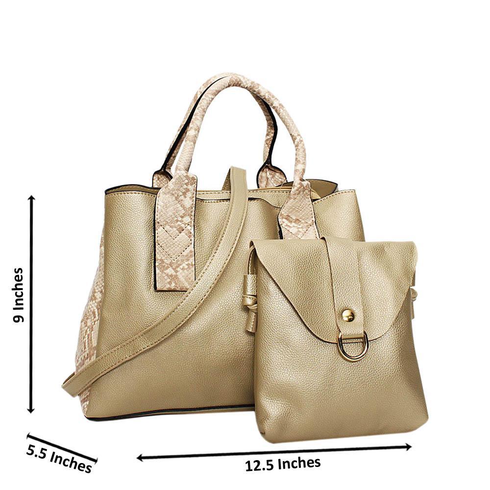 Gold Mix Snake Skin Leather Medium 2 in 1 Tote Handbag