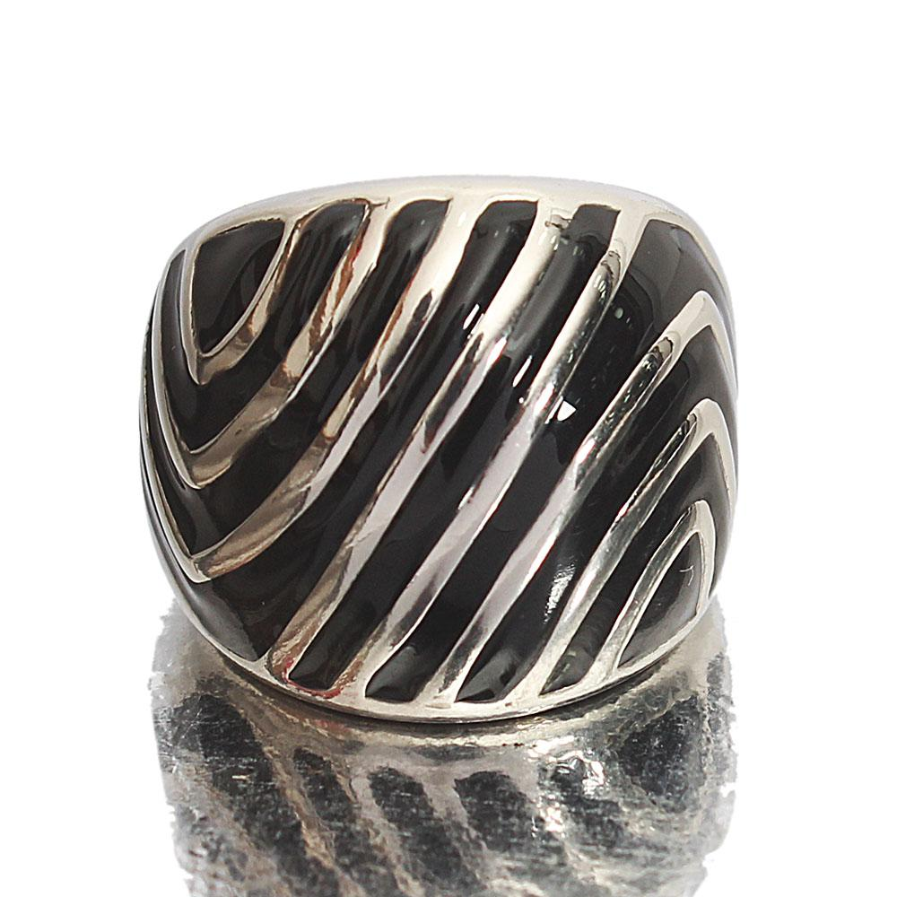 Silver Black Stainless Steel Classic Ladies Ring Sz M
