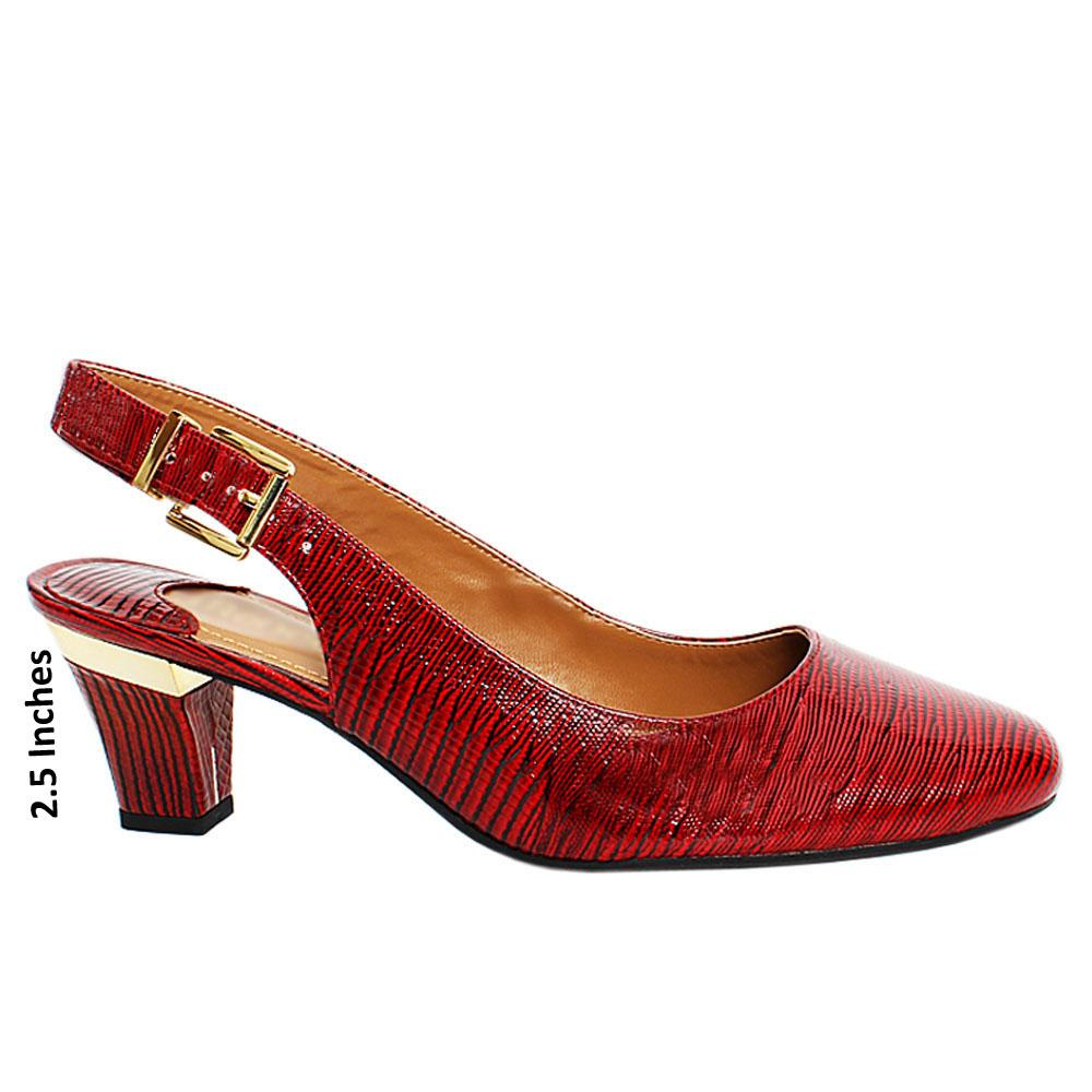 Deep Red Maxi Snake Leather Slingback Heel