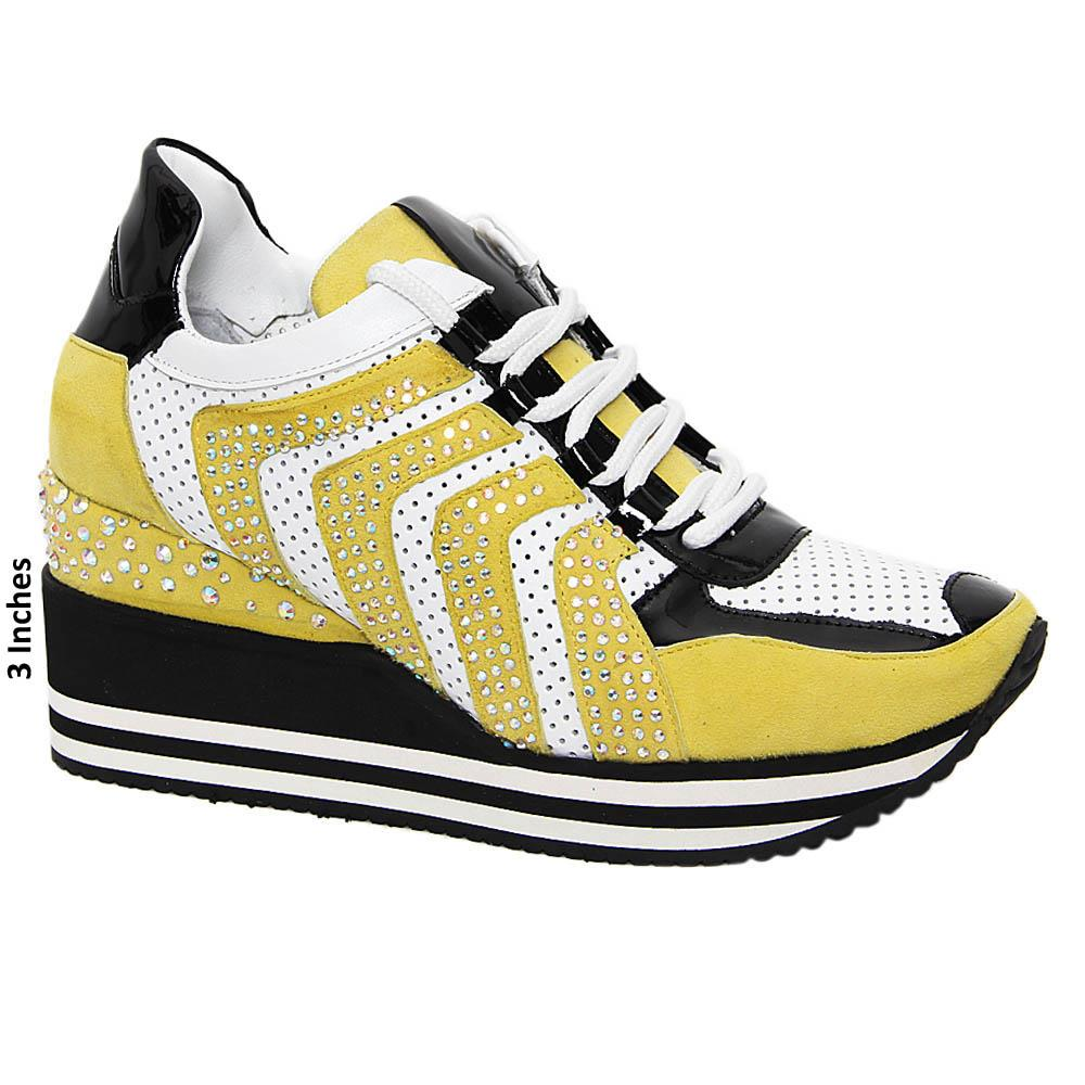 Yellow April Studded Suede Tuscany Leather Wedge Sneakers