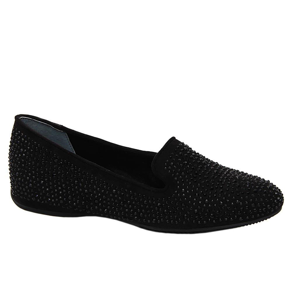 Black Sierra Studded Leather Women Flat Shoe