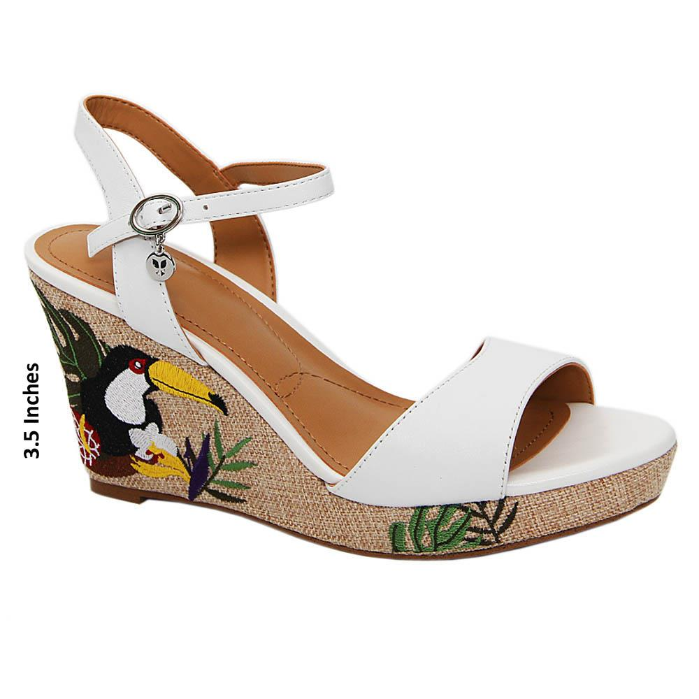 White Presley Leather Wedge Sandals