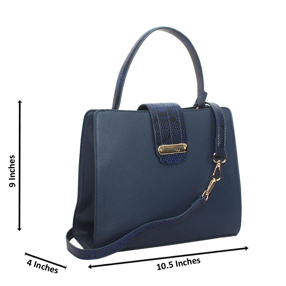 Blue Natalia Leather Small Top Handle Handbag