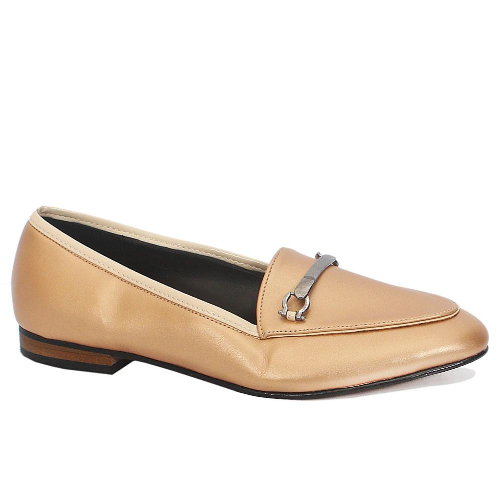 Gold Leather Ladies Flat Shoes