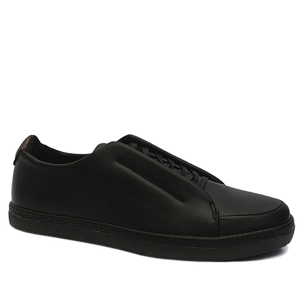 Black Stuart Leather Sneakers