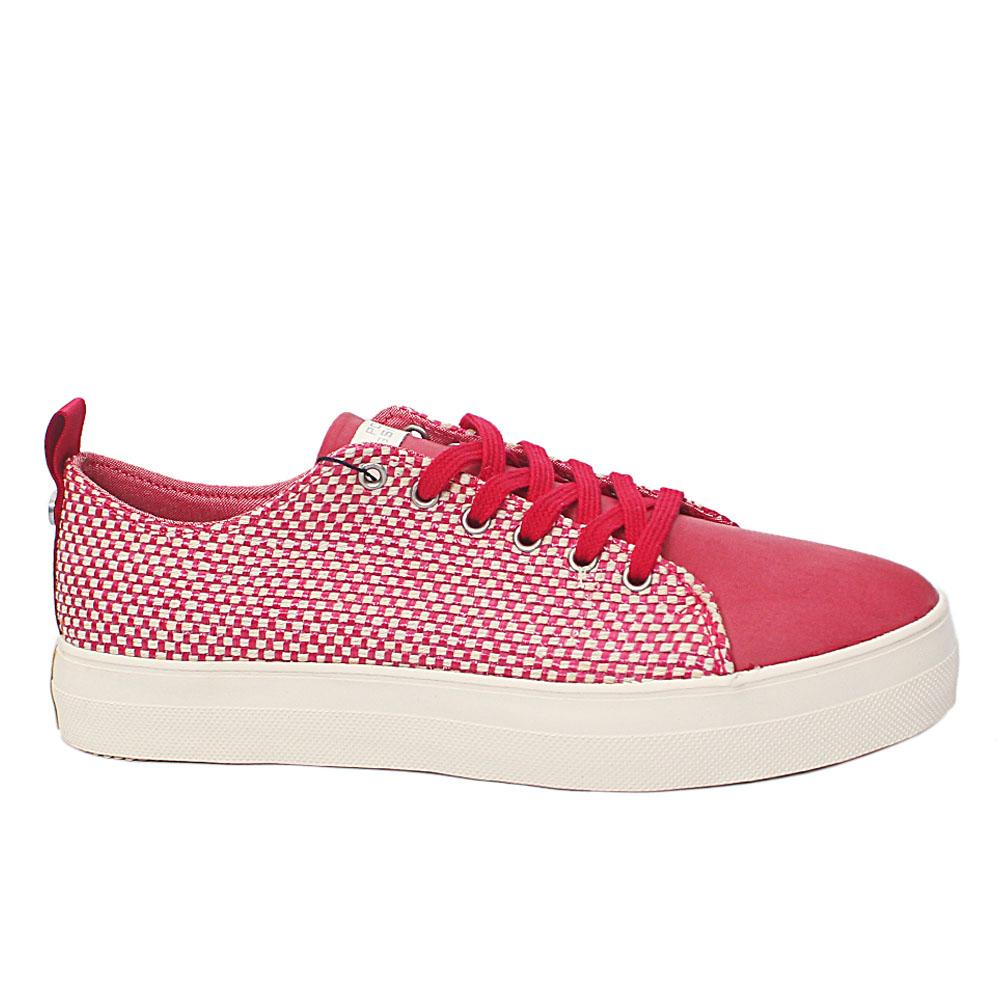 Red White Vichy Woven Fabric Leather Ladies Sneakers