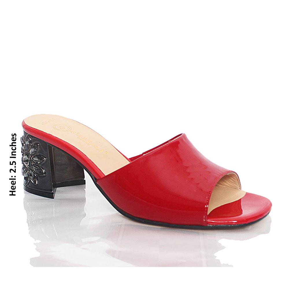 Red Luisa Patent Italian Leather Mule