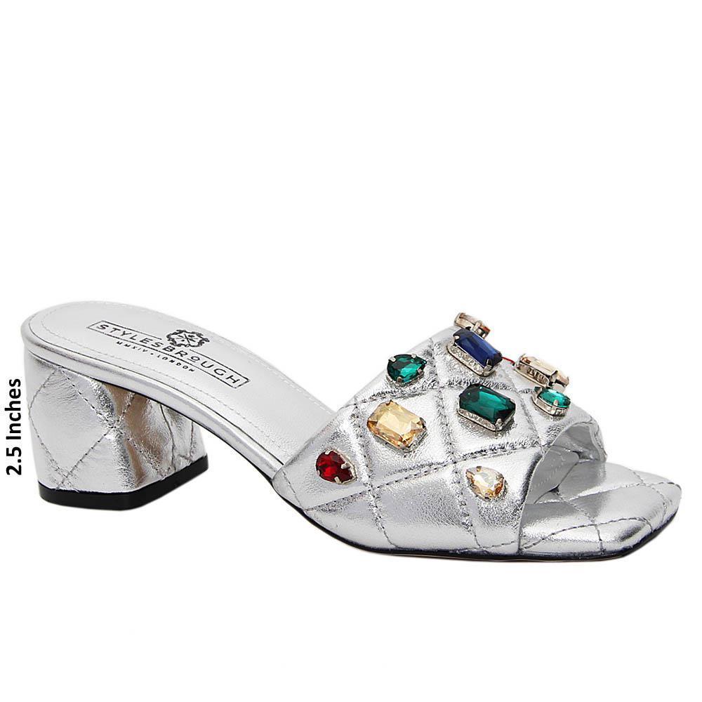 Snow Silver Studded Italian Leather Mid Heel Mule