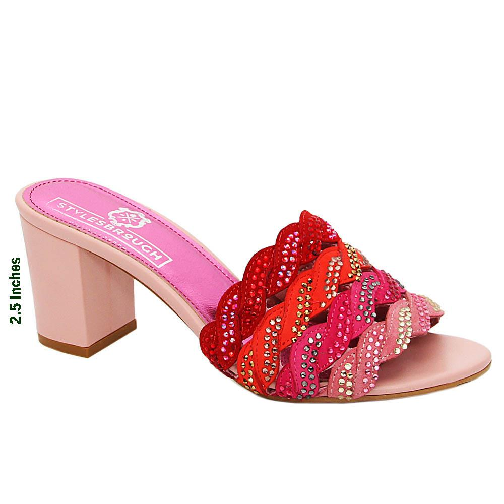 Pink Mix Camilla Studded Italian Leather High Heel Mule
