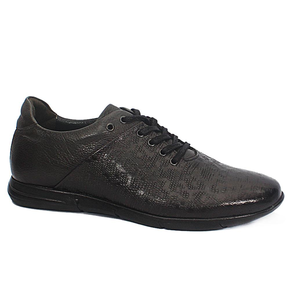 Andrea Dark Gray Embossed Leather Sneakers