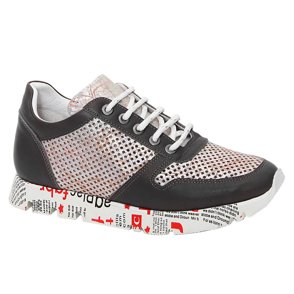Gray Vintage Tuscany Leather Breathable Women Sneakers