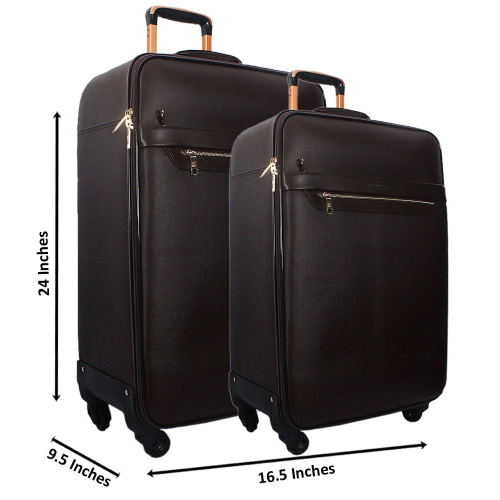 Coffee 24 Inch Wt 20 Inch 2 in 1 Leather Luggage Set