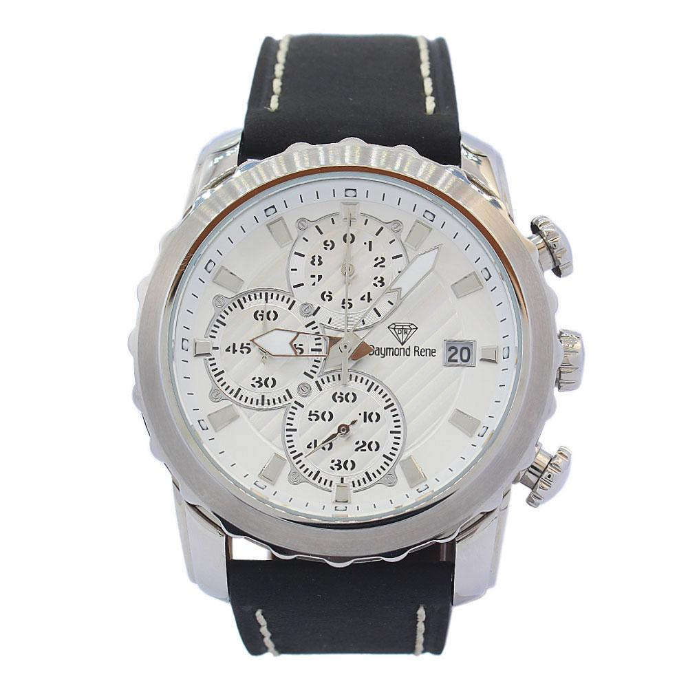 Silver Black Leather Chronograph Watch