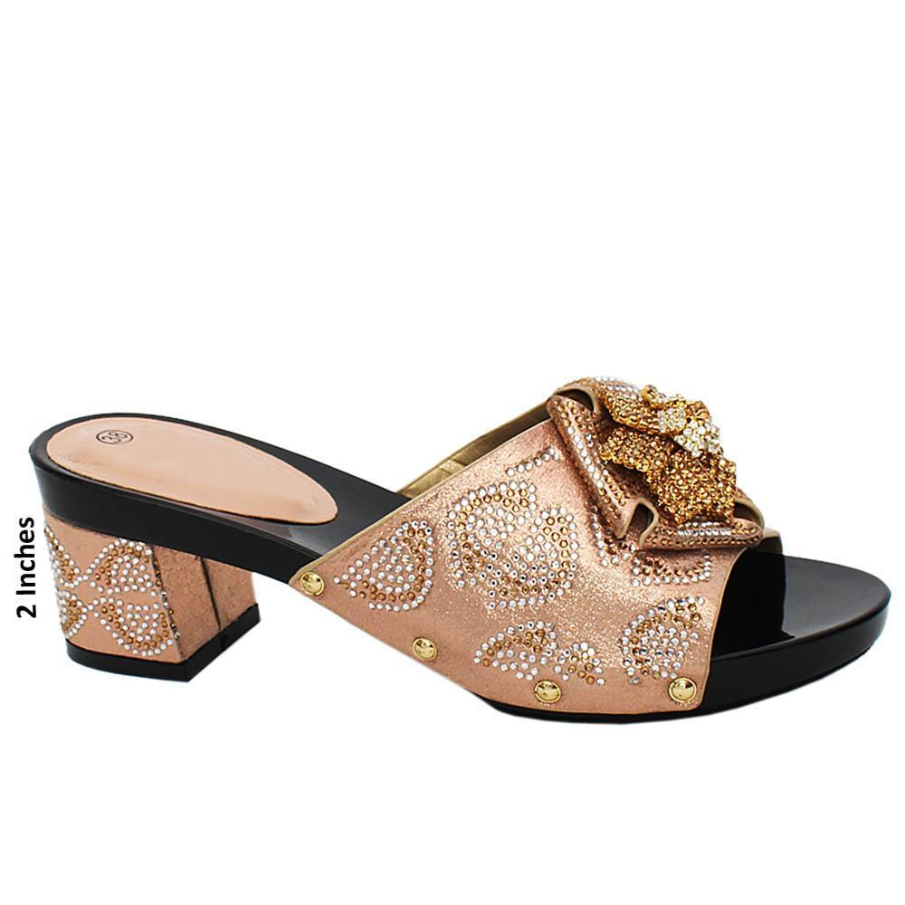 Beige Jasmine Studded Leather Mule Heels