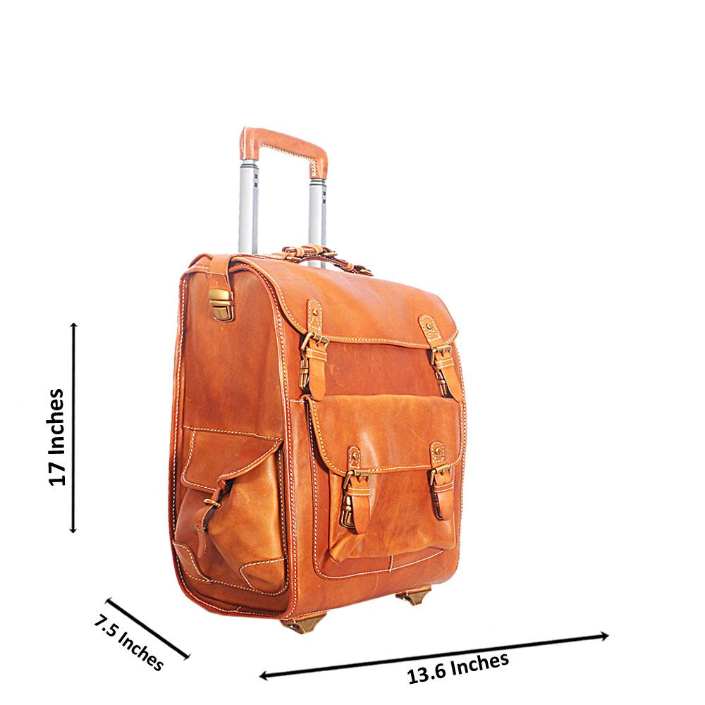 Brown Italian Leather Carry on Luggage