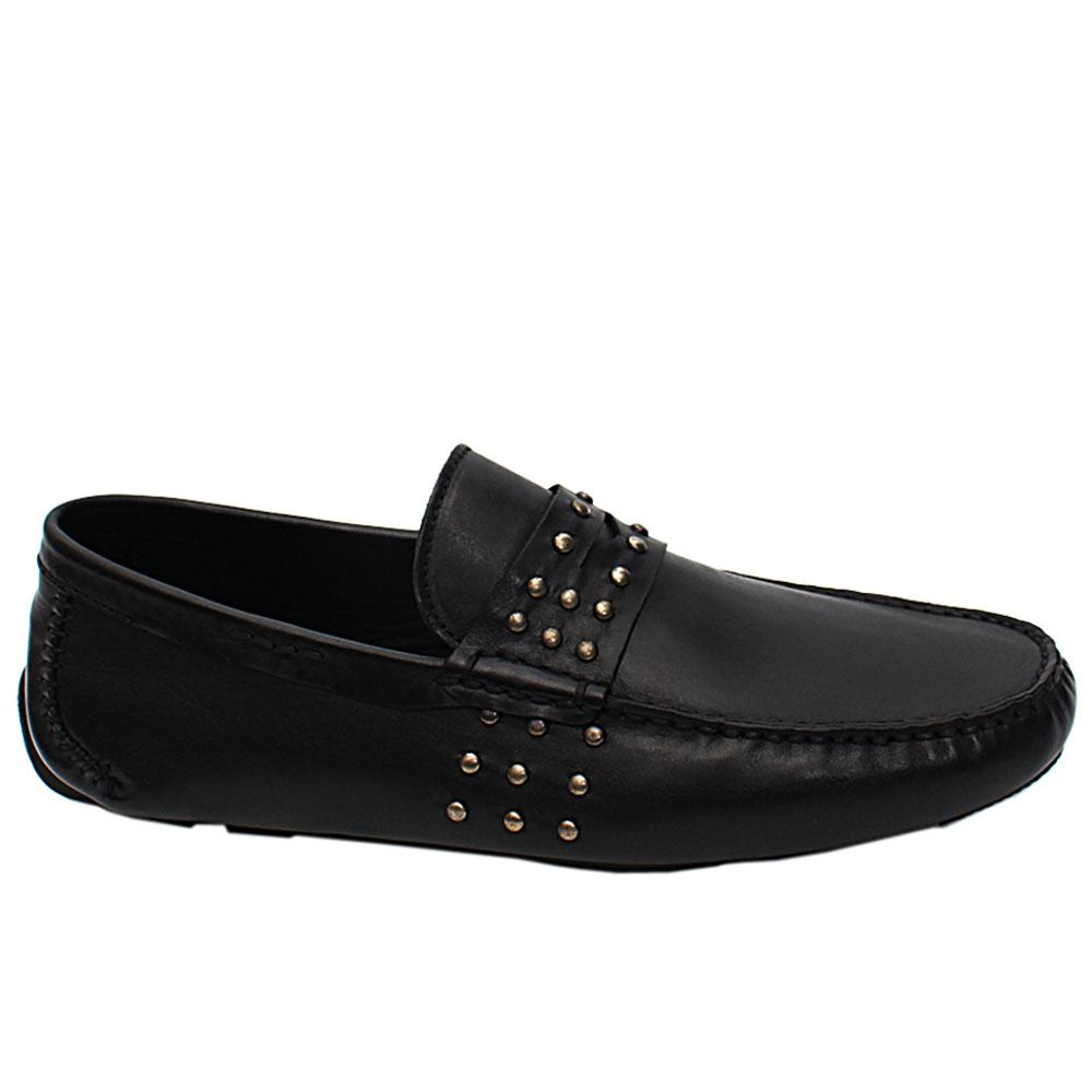 Black Studded Paolo Italian Leather Drivers Shoes